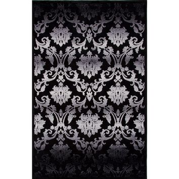 Fables Coll. Floral Pattern Art Silk/Chenille Black/Gray Glamourous Area Rug (9 x 12)