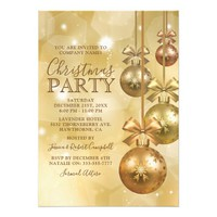 Elegant Gold Ornament Company Christmas Party Card