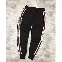 GUCCI Trending Unisex Comfortable Stylish Sequin Cat Embroidery Drawstring Sport Pants Trousers Sweatpants Black I-CY-MN