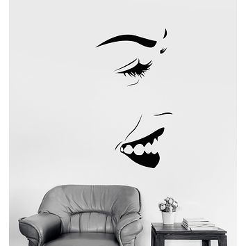 Vinyl Wall Decal Beautiful Happy Woman's Face Girl Smile Stickers (3007ig)