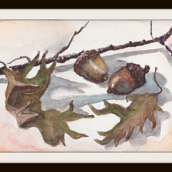 "Acorn And Fall Leaves In Watercolor- Original Watercolor Print,Size 5""x7"" ,Size 8"" x10"", Botanical Art, Autumn Art, Home Decor, Wall Art"