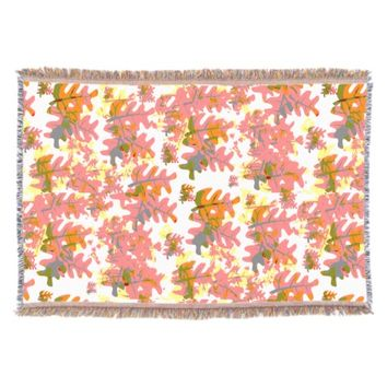 Warm Shades of Orange Fall Colored Leaves Pattern Throw