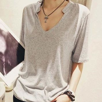 Solid t shirt Summer Women Top Short Sleeve V Neck  tshirt Casual Loose Style Women For Black/White/Gray Tops Tee Shirt Femme A6