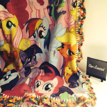 My Little Pony blanket with crochet trim