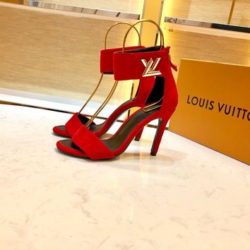 Louis Vuitton LV Women Red Fashion Pointed Toe High Heels Shoes