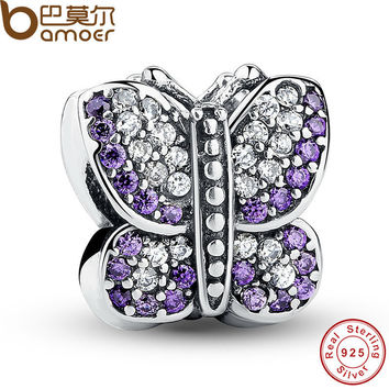 Excellent Stunning 925 Sterling Silver Sparkling Butterfly Purple CZ Animal Charm Fit  Bracelet Jewelry Making PAS023
