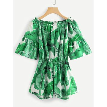 Off Shoulder Tropic Print Romper