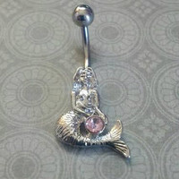 Mermaid Belly Button Ring with Pink Stone