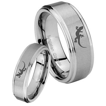 His and Hers Step Edge Lizard Tungsten Silver Wedding Rings Set