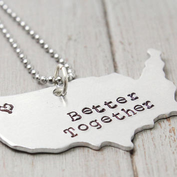 State to State Necklace, Long Distance Love Necklace, Better Together, Personalised Jewelry,  Handstamped Jewelry, Personalized Jewelry
