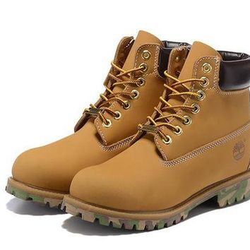 ONETOW Timberland For Men Women 6-Inch Premium Waterproof Wheat Black Camo Boots