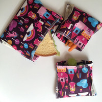 Set of 3 Reusable Snack Bags, Ecofriendly Snack Bags, Kids Snack Bags