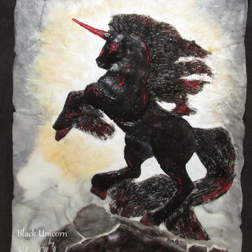 Black Unicorn wall decoration, Nightmare wall decoration, polimer clay picture, 3D picture, sculpted picture