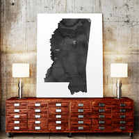 USA MAP PRINTABLE Mississippi watercolor Iowa print Mississippi state silhouette Mississippi map Mississippi printable Mississippi wall art