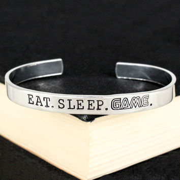 Eat. Sleep. Game. - Retro Games - Video Games - Aluminum Bracelet