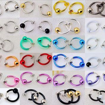 ac DCCKO2Q 2 Pieces 10x13mm Colorful Fake Nose Ring With Ball Goth Punk Lip Ear Nose Clip On Fake Piercing Nose Lip Hoop Rings Earrings