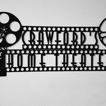 "Custom Home Theater Sign with Personalized Name  Metal Wall Art Movie Room Decor 44"" By 20"""