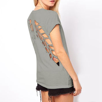 Casual Angel Wings O-Neck T-Shirts