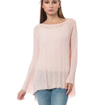 LE3NO Womens Loose Fit Long Sleeve Round Neck Tunic Sweater Top