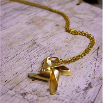 The Golden Pinwheel Necklace by sodalex on Etsy