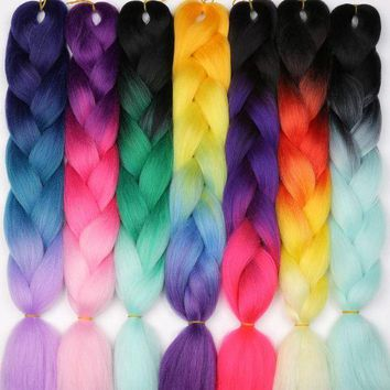 ESB1ON MISS WIG Ombre Kanekalon Braiding Hair Extensions 24inch 100g Jumbo Braids Synthetic Hair Fiber Pink Purple Blue Green 1pce