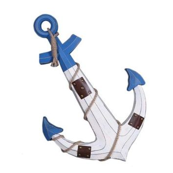 Wood Wall Hanging Decoration Anchor Mediterranean Style   white