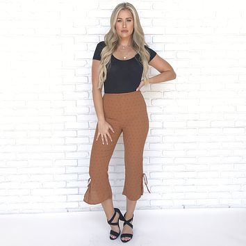 Tribal Star Capri Pants in Rust