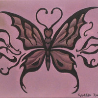 Purple and Black Tribal Butterfly oil painting on canvas, 8x11 tribal art, canvas, original painting, signed, varnished, gothic art