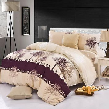 4Pcs Bedding-set Family Cotton Bedding Set Bed Sheets Duvet Cover King Size Linens Quilt Pillow Bedspread No Comforter