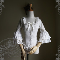 Musical Palmer Classic Lolita 7/10 Length Hime Sleeves Square Collar Fine Chiffon Blouse*4colors Instant Shipping