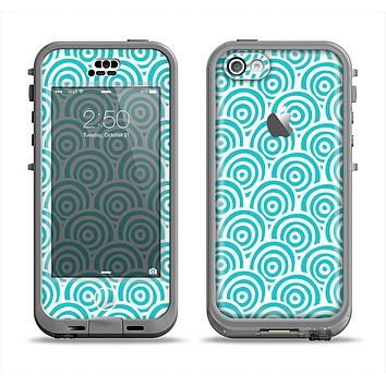 The Aqua Blue & White Swirls Apple iPhone 5c LifeProof Nuud Case Skin Set