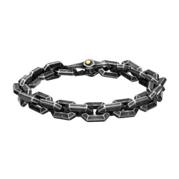 316L Stainless Steel Oxidized Antique Geometric Cable Link Bracelet 8.25""