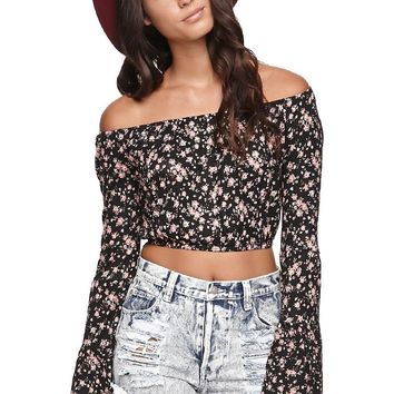 LA Hearts Floral Bell Sleeve Crop Top - Womens Tee