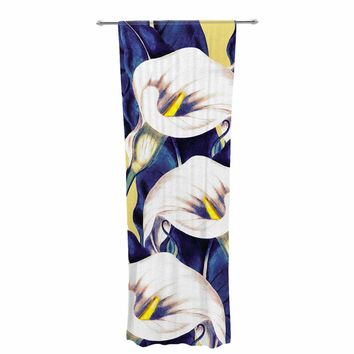 "mmartabc ""Pattern Calla Lily Flower"" Blue Yellow Floral Vintage Illustration Digital Decorative Sheer Curtain"