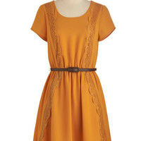 ModCloth Mid-length Short Sleeves A-line Be Marigold Dress