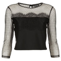 Lace Dobby Mesh Crop Top - Jersey Tops  - Clothing
