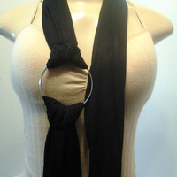 Beautiful Jet Black Necklace Fashion Cowl Scarf with Beautiful Large Silver Ring, Women Scarf, Ladies Scarf, String Scarf