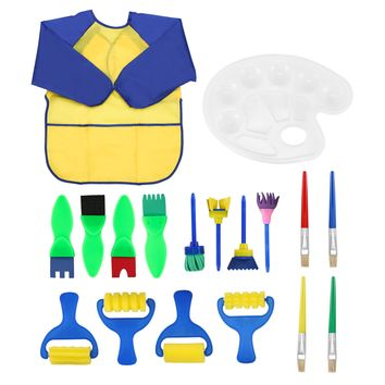 Kids Toy Painting Fun Paint Brush Kit with Apron & 18 Pieces