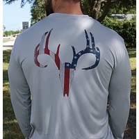 Distressed American Flag Deer Skull Gray UPF Long Sleeve Shirt