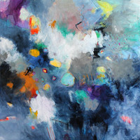 """Large Abstract Painting 36x36 Original Modern  on Canvas """"April Storm"""""""