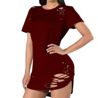 Sexy Hole T-shirt Womens Dress