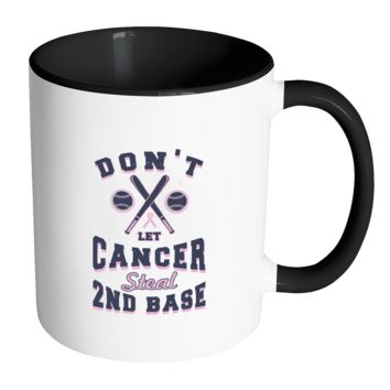 2nd Base Baseball Cool Awesome Unique Breast Cancer Awareness Pink Ribbon 11oz Accent Coffee Mug(7 Colors)