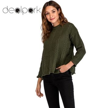 2018 Autumn Knitted Sweaters Women Christmas Pullover Loose Knit Sweaters O-neck Long Sleeve tunics Knitwear top female jumpers