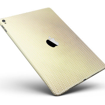 """The Gold and White Micro Chevron Pattern Full Body Skin for the iPad Pro (12.9"""" or 9.7"""" available)"""