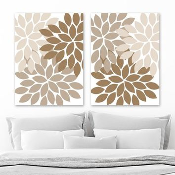 Tan Beige Brown Flower WALL Art, Flower Canvas or Print, Tan Beige Brown Floral Bathroom Decor, Tan Beige Brown Bedroom Wall Decor, Set of 2