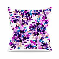 "Ebi Emporium ""Dahlia Dots 3"" Pink Purple Outdoor Throw Pillow"