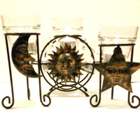 Celestial Candle Holders Sun Moon Star Black and Gold Metal  Votive Candle Holders