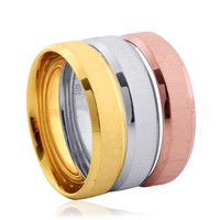 Stainless Steel & 14K Yellow Gold, 14K Rose Gold ION Plated Size 7 Wedding Band Rings - Set of 3