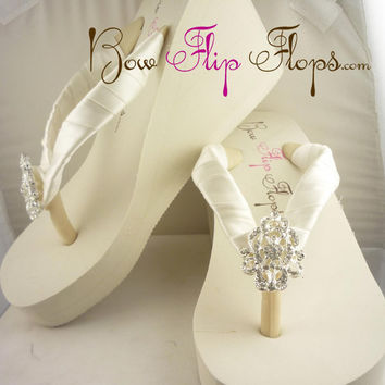 Bridal Wedge Flip Flops Ivory Lace Rhinestone Bling Satin White Jewel Bride Wedding Ribbon Bow, Great for brides, bridesmaids