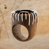 Wooden Ring With Silver And Pure Leather - Something I s Coming Out of It - Wooden Effective Jewelry - Silver Ring - Women's Jewelry